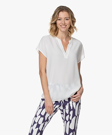 Kyra & Ko Maren Crepe Short Sleeve Blouse - White