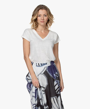 Kyra & Ko Synthia Linnen Jersey V-hals T-shirt - Wit
