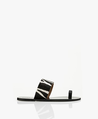 ATP Atelier Astrid Zebra Print Leather Toe Sandals - Black