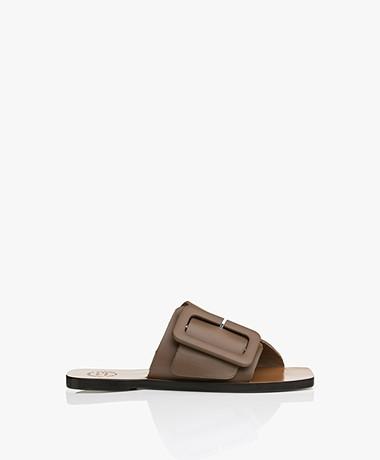 ATP Atelier Ceci Leather Buckle Sandals - Khaki Brown