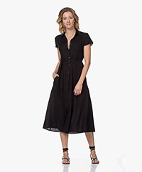 Kyra & Ko Pebble Linen Midi Shirt Dress - Black