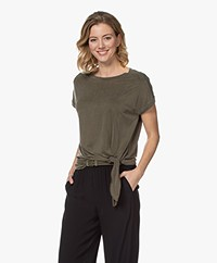 no man's land Cupro T-shirt with Knot Detail - Soft Safari Green