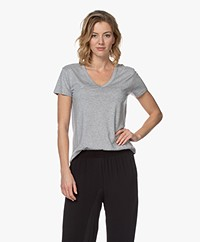 Repeat Lyocell Jersey V-neck T-shirt - Grey