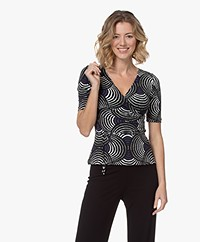 Kyra & Ko Kimber Tech Jersey Circle Print T-shirt - Black
