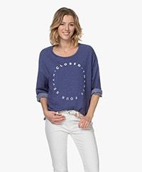Closed Sweatshirt met Driekwartmouwen - Dark Sea