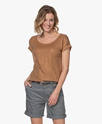 Marie Sixtine Coated Linen T-shirt - Bronze