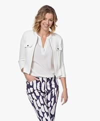 Kyra & Ko Annemijn Short Jersey Blazer Cardigan - White