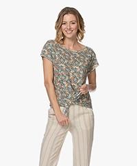 Marie Sixtine Joelle Linnen Print T-shirt - Abricotier