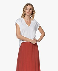 FRAME Le Mid Rise V-neck T-shirt - White