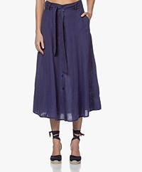 Kyra & Ko Caroline Linen A-line Skirt - Denim
