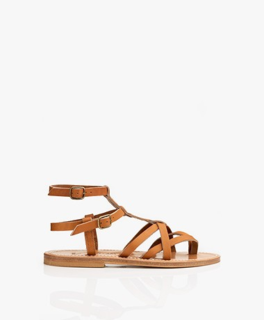 K. Jacques St. Tropez Larissa Leather Studded Sandals - Brown