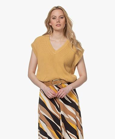 Closed Sleeveless Cotton V-neck Sweater - Grain