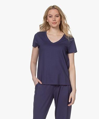 HANRO Modalmix V-hals T-shirt - Nightshade