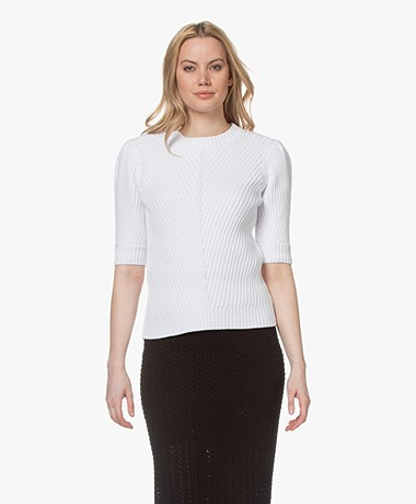 Repeat Cotton Sweater with Elbow-length Sleeves - White