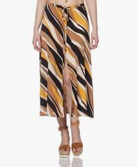 no man's land Printed Viscose Jersey Skirt - Toffee