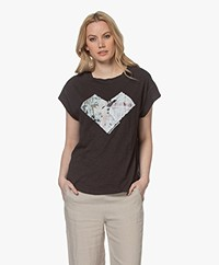 ba&sh Vadim Slub jersey Print T-shirt - Carbon