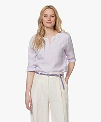 Belluna Vanou Linen Embroidered Blouse - Lilac