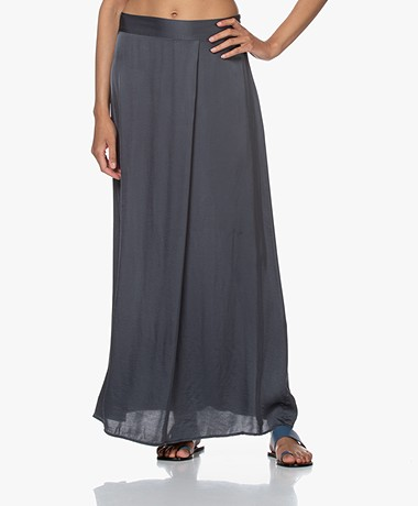 no man's land Satin Maxi Skirt - Slate