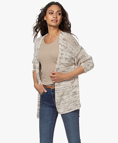 indi & cold Open Cotton Tape Yarn Cardigan - Tapioca