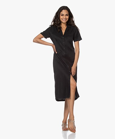 Denham Holness Cupro Blend Short Sleeve Shirt Dress - Black