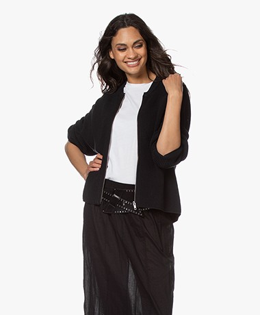 Drykorn Valene Oversized Cardigan with Zipper - Black