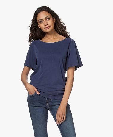 Plein Publique La Vie Modalmix T-shirt met Vlindermouwen - Donkerblauw