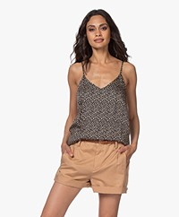 Plein Publique Le Sage Viscose Dot Print Top - Black/Beige