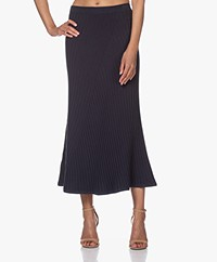 Filippa K Fay Rib Knit Midi Skirt - Ink Blue
