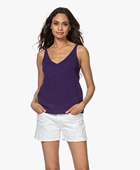 Drykorn Meria Tape Yarn V-neck Top - Purple