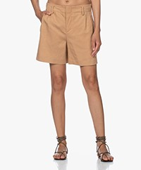 Drykorn Asset Linen Blend Pleated Shorts - Camel