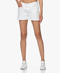 Denham Monroe Destroyed Denim Shorts - White
