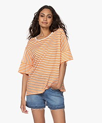 Closed Gestreept Linnen T-shirt - Mango