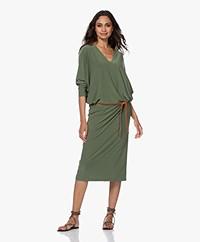 Norma Kamali Tech Jersey Dolman Midi Dress - Celadon