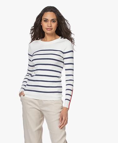 Plein Publique L'Elisa Striped Pullover with Silk - Ivory/Navy