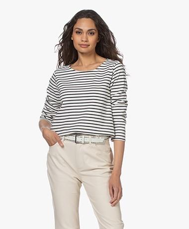 Plein Publique Striped Long Sleeve L'Aimee - Ivory Black