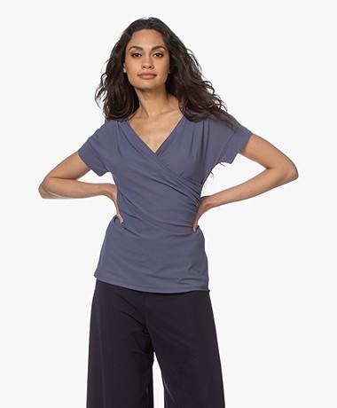 no man's land Tech Jersey Overslag T-shirt - Blueberry