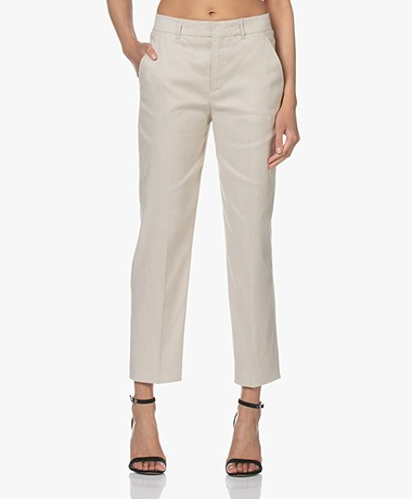 Drykorn Search Linen Blend Cropped Pants - Beige