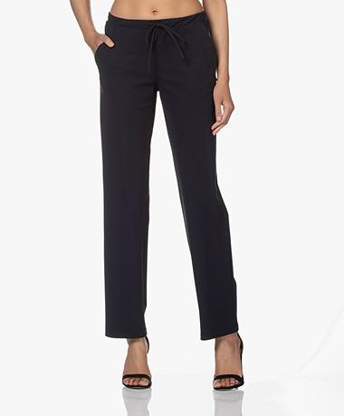 Woman by Earn Phyllis Tech Jersey Straight Leg Pants - Navy
