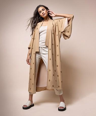 By Malene Birger Kimonia Long Kimono Blazer - Tan