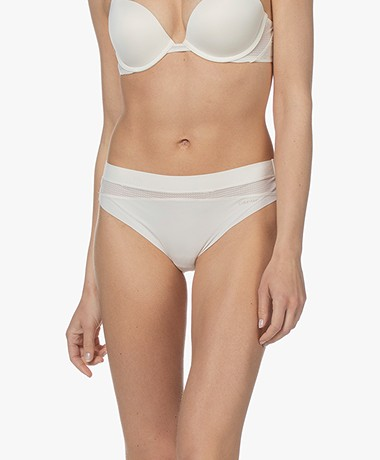 Calvin Klein Microfiber and Lace Thong - Ivory