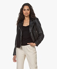 Drykorn Paisly Leather Biker Jacket - Black