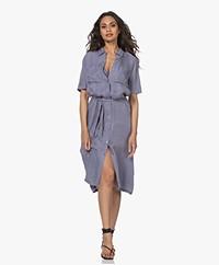 Denham Denise Cupro Blend Midi Shirt Dress - Stonewash Blue