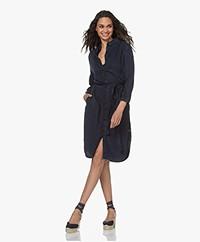 Plein Publique La Folie Lyocell Denim Shirt Dress - Blue-Black