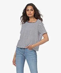 Denham Marine Gestreept T-shirt - Navy Blazer