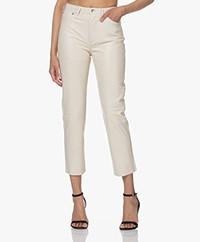 IRO Shales Lamb Leather Straight Pants - Ivory