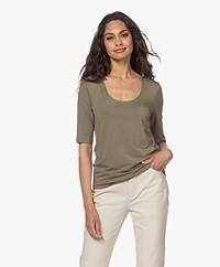 LaSalle Lyocell T-shirt met Halflange Mouwen - Moss