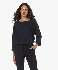Woman by Earn Amelie Oversized Crêpe Blouse - Navy