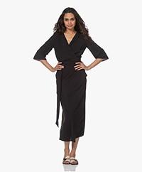 JapanTKY Lucy Travel Jersey Wrap Dress - Deep Black