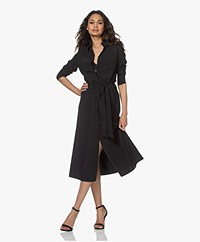 JapanTKY Fenya Fit & Flare Travel Jersey Shirt Dress - Deep Black