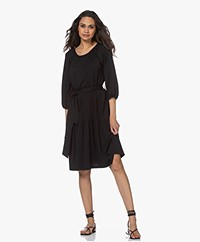 LaSalle Peasant Lyocell Jersey Dress - Black